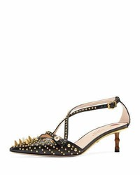 Gucci Unia Spiked 45mm Pump Black