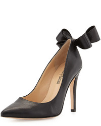 Neiman Marcus Verity Leather Bow Pump Black