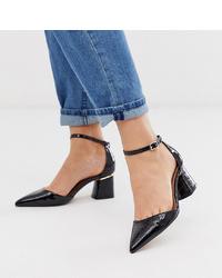 ASOS DESIGN Wide Fit Pointed Mid Heels In Black Croc