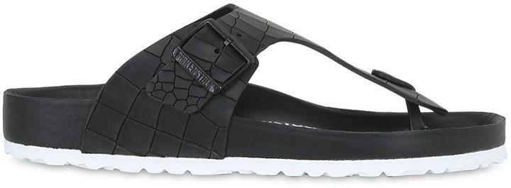 Black Leather Sandals Birkenstock Ramses Croc Embossed Leather Sandals