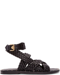 Versace Black Braided Leather Sandals