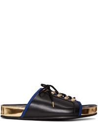Balmain Black Lace Up Sandals