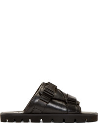 MSGM Black Leather Buckle Sandals