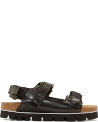 MSGM Black Leather Slingback Sandals