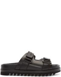 DSQUARED2 Black Leather Slip On Sandals