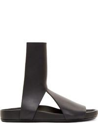 Rick Owens Black Leather Spartan Granola Sandals