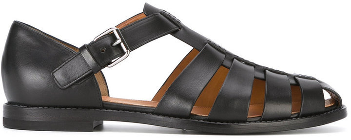 02f1287902eb ... Black Leather Sandals Church s Church s Fisherman sandals