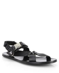 Versace Collection Logo Buckle Leather Sandals