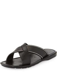 Bally Darlie Leather Crossed Sandal Black
