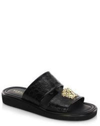 Versace Double Strap Leather Sandals