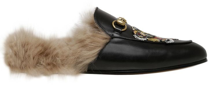 fc3771a93aaa ... Sandals Gucci Princetown Leather Slide Mules With Fur ...