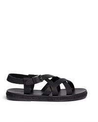 Giorgio Armani Jute Midsole Basketweave Leather Strap Sandals