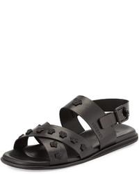 Versace Leather Strappy Sandal Black