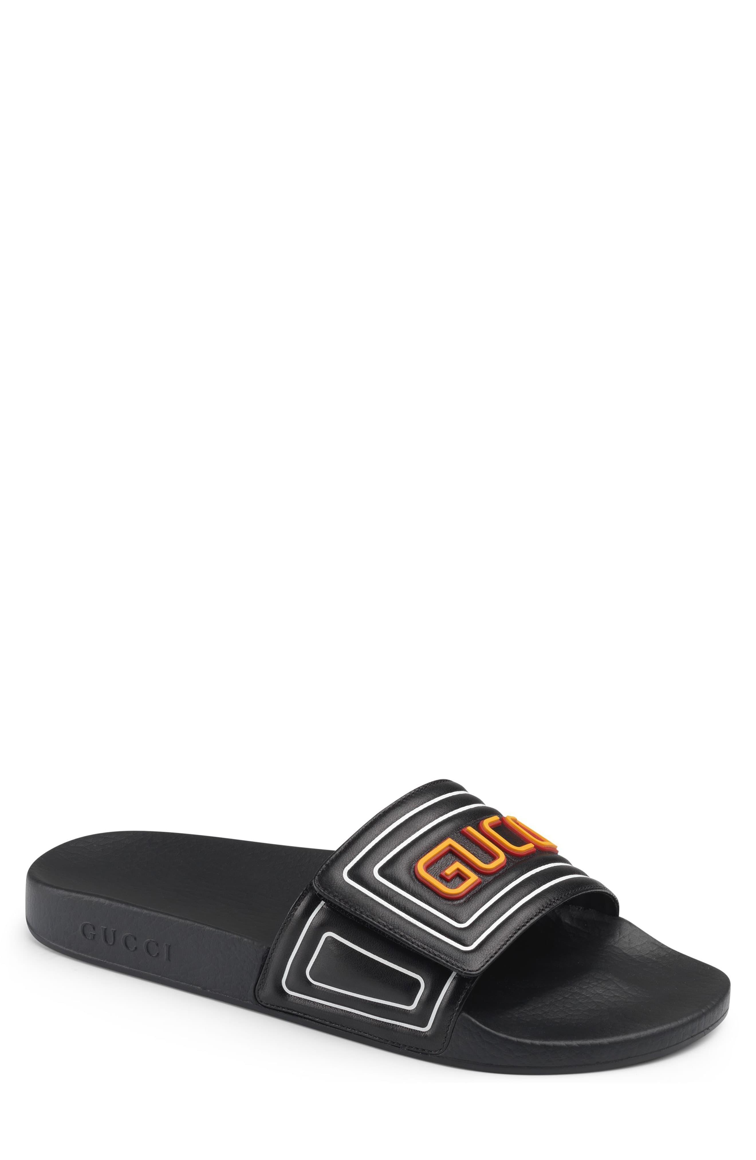 Gucci Pursuit Logo Slide Sandal, $590