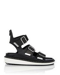 Givenchy Rance Triple Buckle Sandals Black