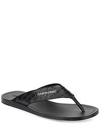 Roberto Cavalli Embossed Leather Thong Sandals