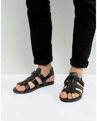 Asos Sandals In Black Leather With Studs