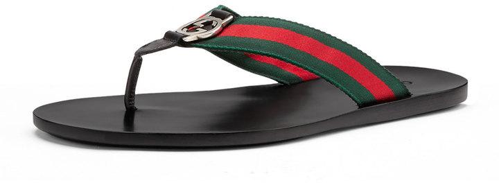 a570e611687ac7 ... Gucci Web Strap Thong Sandal Black ...
