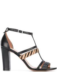 Twin-Set Zebra Strap T Bar Sandals
