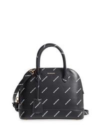 Balenciaga Allover Logo Leather Dome Satchel