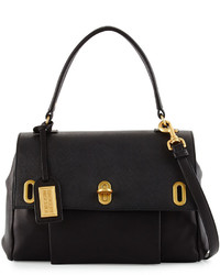 Badgley Mischka Anne Flap Top Leather Satchel Bag Black