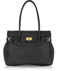 Fontanelli Black Embossed Leather Large Satchel Bag