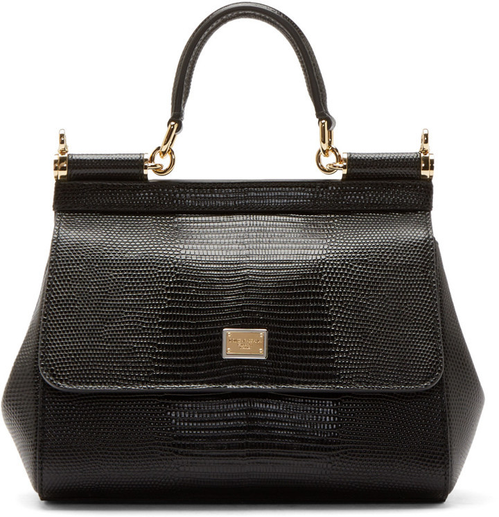 Bags Dolce Gabbana Black Iguana Embossed Small Miss Sicily