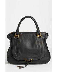 Chloé Chloe Marcie Large Leather Shoulder Bag Black