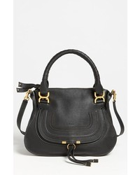 Chloe medium marcie leather satchel black medium 148313
