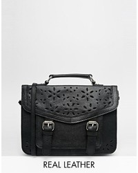 Asos Collection Leather Satchel Bag With Cut Out Detail