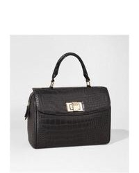 Express Crocodile Embossed Turnlock Satchel Black
