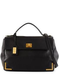 Badgley Mischka Linda Pebbled Leather Satchel Bag Black