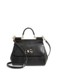 Dolce & Gabbana Miss Sicily St Iguana Leather Satchel
