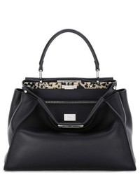 Fendi Peekaboo Leather Satchel With Plexiglas Trim Black