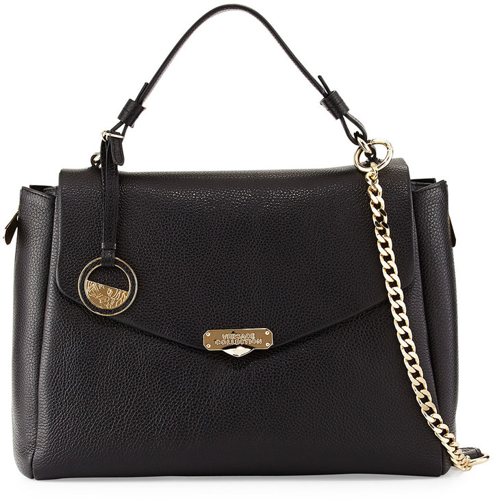 e819b1004768 ... Versace Top Handle Leather Satchel Bag Black ...
