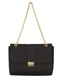 Topshop Quilted Faux Leather Shoulder Bag Black