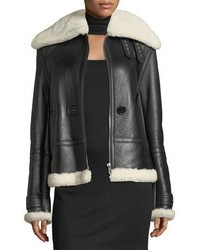 Helmut Lang Aviator Zip Front Shearlingleather Jacket
