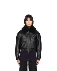 AMI Alexandre Mattiussi Black Ed Leather Shearling Jacket
