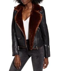 BLANKNYC Faux Fur Faux Leather Moto Jacket
