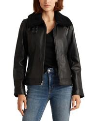 Lauren Ralph Lauren Leather Jacket With Faux Fur Collar