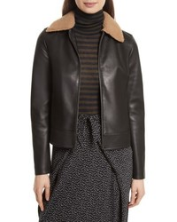 Leather jacket with genuine shearling trim medium 5254841