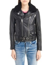 Saint Laurent Leather Moto Jacket With Removable Genuine Shearling Collar