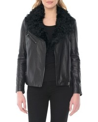 Marianne genuine shearling collar moto jacket medium 4950652