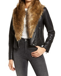 BLANKNYC Night Fever Faux Leather Moto Jacket With Faux