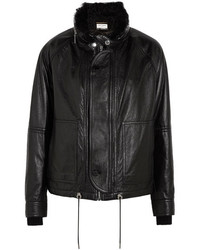 Shearling lined textured leather jacket black medium 5083824
