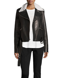 Tyrel leather moto jacket w shearling medium 4471657