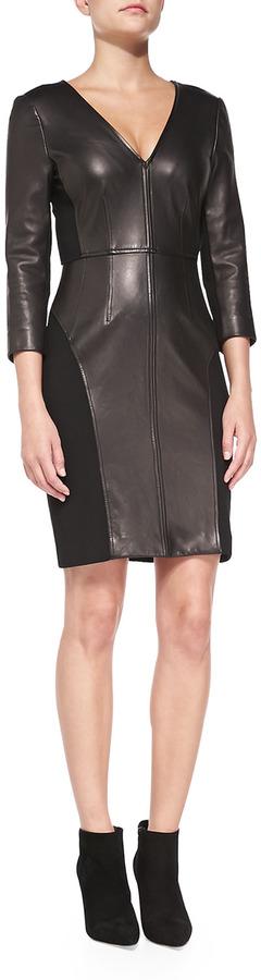 34 Sleeve Leather Front Sheath Dress Black By Diane Von Furstenberg