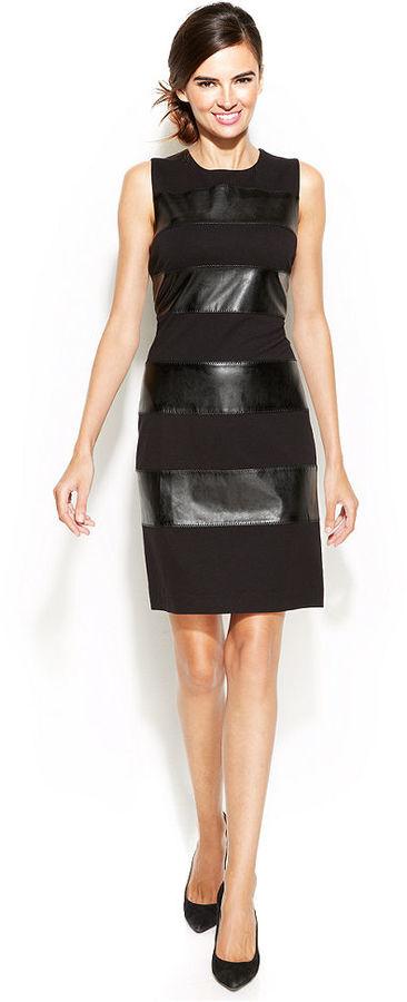 Calvin Klein Sleeveless Faux Leather Stripe Sheath   Where to buy ...