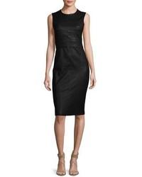 Sleeveless leather sheath dress black medium 1246997
