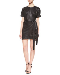 IRO Abigail Leather Wrap Dress